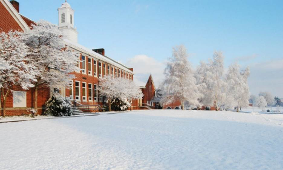 a photograph of the Selinsgrove Area High School in winter with snow on the ground.